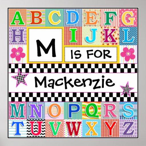 Arte 24x24 del alfabeto de los niños personalizado posters