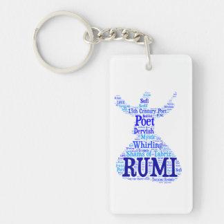 Arte 2 de la palabra de Rumi Llavero Rectangular Acrílico A Una Cara