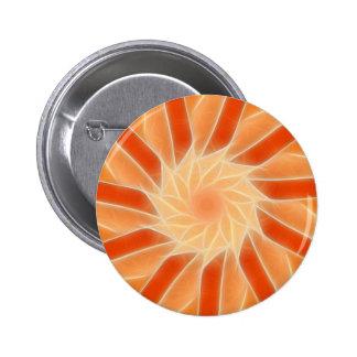 Arte 2 del caleidoscopio del rojo anaranjado pin redondo de 2 pulgadas