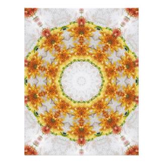 """Arte 4 del caleidoscopio del crisantemo del oro folleto 8.5"""" x 11"""""""