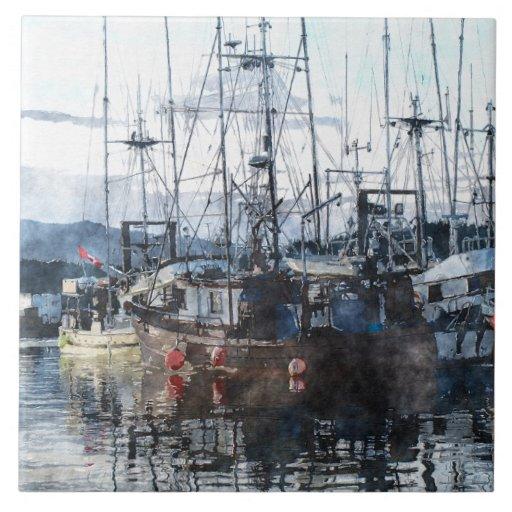 """Arte 6"""" del Watercolour del barco de pesca teja de"""