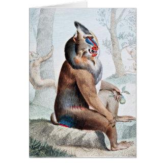 Arte abigarrado del vintage del babuino tarjeta de felicitación