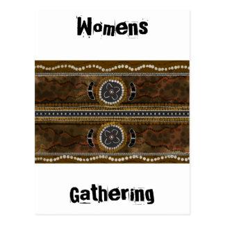 Arte aborigen australiano - reunión de la comida tarjeta postal