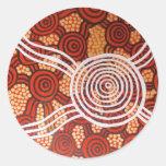 Arte aborigen de Corroboree II Etiqueta Redonda