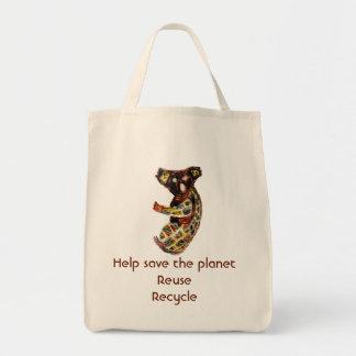 Arte aborigen de la koala bolsa tela para la compra