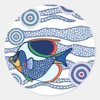Arte aborigen Fish-01 del punto Etiqueta Redonda