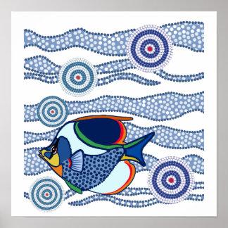 Arte aborigen Fish-01 del punto Póster