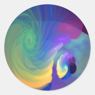 Arte abstracto abrigado de la vida etiqueta redonda