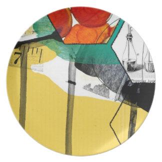 arte abstracto amarillo platos