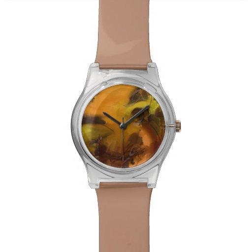 arte abstracto amarillo relojes de pulsera