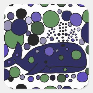 Arte abstracto azul artístico de la ballena de esp pegatinas cuadradas personalizadas
