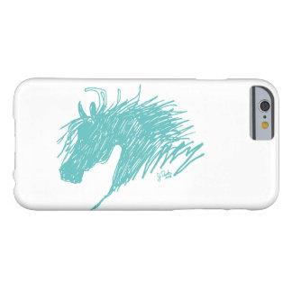 Arte abstracto azul de la cabeza de caballo del funda para iPhone 6 barely there