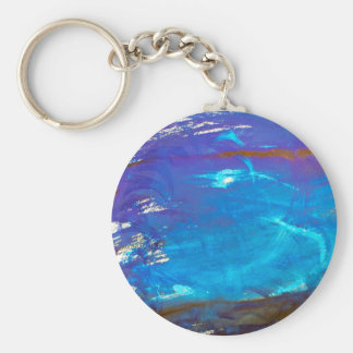 Arte abstracto azul del agua del espacio llavero redondo tipo pin