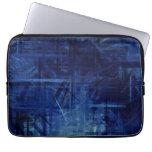 Arte abstracto azul marino que pinta 2 mangas portátiles
