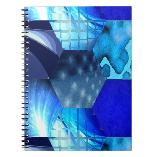 Arte abstracto azul spiral notebooks
