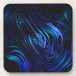 Arte abstracto azul y negro del remolino posavaso