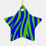 Arte abstracto azul y verde de la cebra adornos de navidad