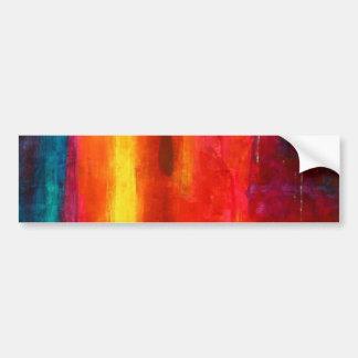 Arte abstracto azulverde anaranjado rojo de los ca etiqueta de parachoque