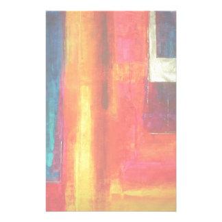Arte abstracto azulverde anaranjado rojo de los ca papeleria personalizada