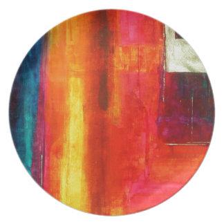 Arte abstracto azulverde anaranjado rojo de los ca platos para fiestas