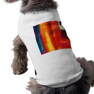 Arte abstracto azulverde anaranjado rojo de los ca camisetas mascota