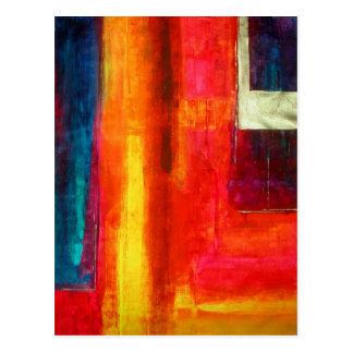 Arte abstracto azulverde anaranjado rojo de los postales