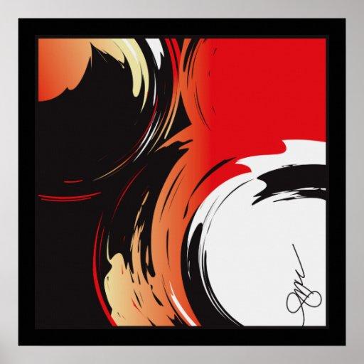 Arte abstracto blanco y negro rojo