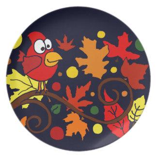 Arte abstracto cardinal rojo del pájaro y de las plato para fiesta