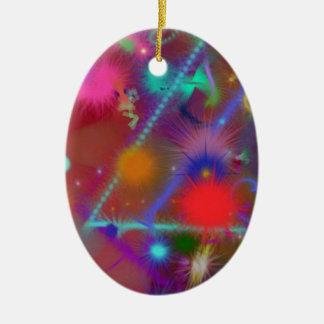 Arte abstracto colorido de la carta de Astro del Adorno Ovalado De Cerámica