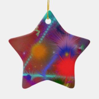 Arte abstracto colorido de la carta de Astro del Adorno De Cerámica En Forma De Estrella
