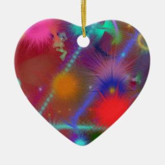 Arte abstracto colorido de la carta de Astro del Adorno De Cerámica En Forma De Corazón