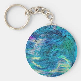 Arte abstracto colorido del pavo real llaveros personalizados