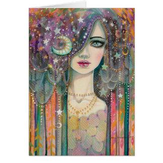 Arte abstracto colorido gitano bohemio de la mujer tarjeta de felicitación