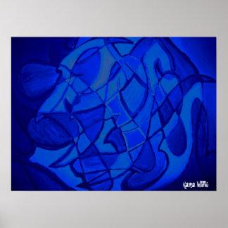 Arte abstracto contemporáneo moderno del azul ultr poster