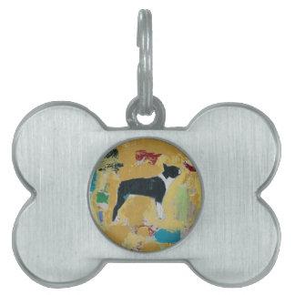 Arte abstracto de Boston Terrier Placa Mascota