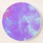 Arte abstracto de la acuarela violeta, azul claro, posavasos cerveza