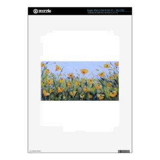 Arte abstracto de la amapola, pintura amarilla de iPad 3 skin