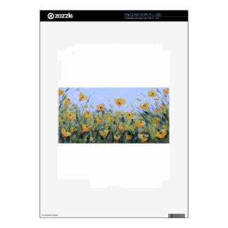 Arte abstracto de la amapola, pintura amarilla de skins para iPad 2