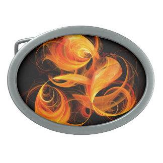 Arte abstracto de la bola de fuego hebilla cinturon oval