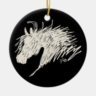 Arte abstracto de la cabeza de caballo adorno navideño redondo de cerámica
