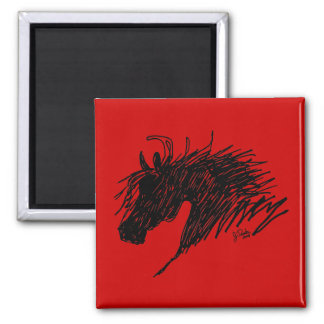 Arte abstracto de la cabeza de caballo iman para frigorífico