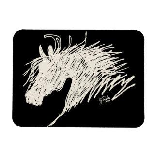 Arte abstracto de la cabeza de caballo imán rectangular