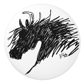 Arte abstracto de la cabeza de caballo pomo de cerámica