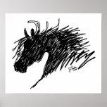 Arte abstracto de la cabeza de caballo poster