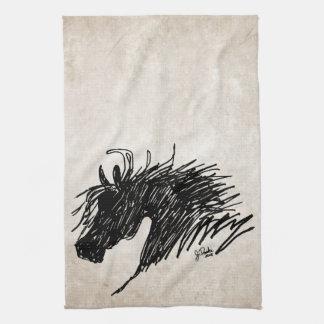 Arte abstracto de la cabeza de caballo toallas de mano