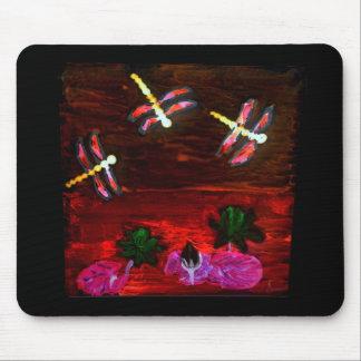 Arte abstracto de la charca del lirio de la alfombrilla de ratones