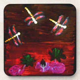 Arte abstracto de la charca del lirio de la posavasos de bebida