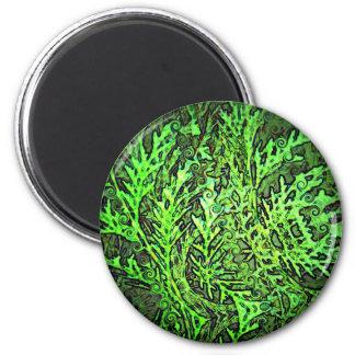 Arte abstracto de la conífera verde de Swirly Imán Redondo 5 Cm