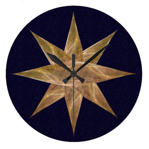 Arte abstracto de la estrella de oro reloj redondo grande