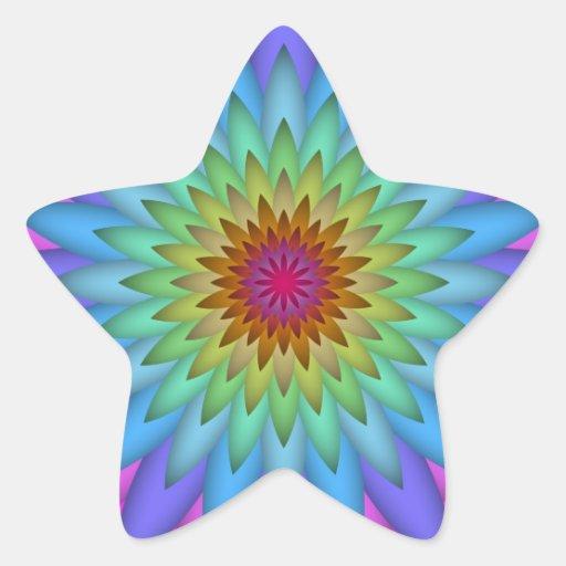Arte abstracto de la flor del arco iris calcomanía forma de estrella personalizadas
